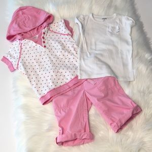 Gymboree pink/white tops pink shorts Size 3T-4